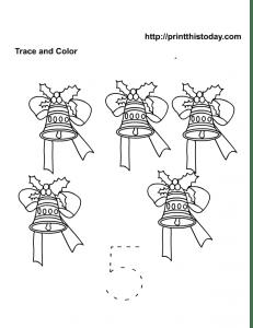 5 Christmas bells Maths worksheet
