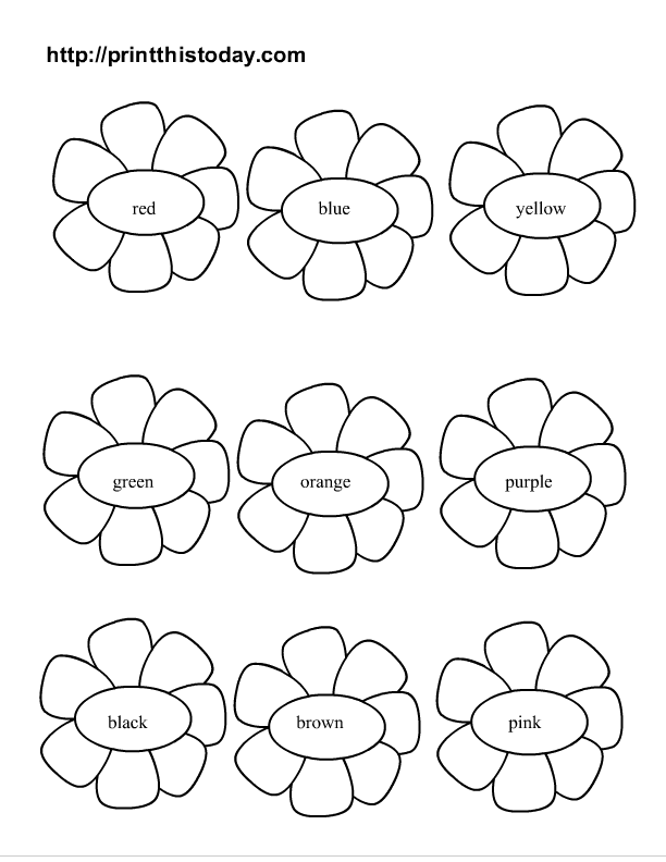 Free Color the Flowers Printable Activity