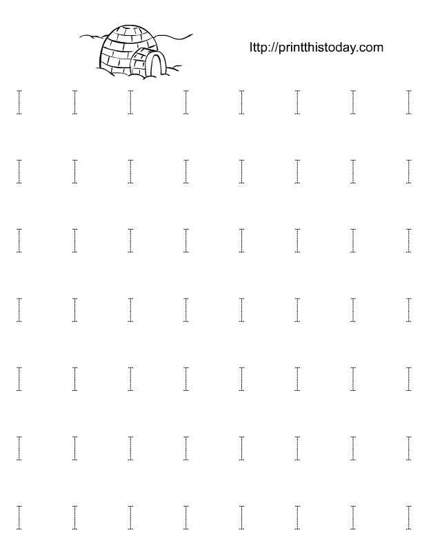 Alphabet I Tracing Worksheets for Preschool and Kindergarten