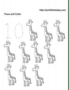 Free Kindergarten Math Worksheets (Number Ten, 10)