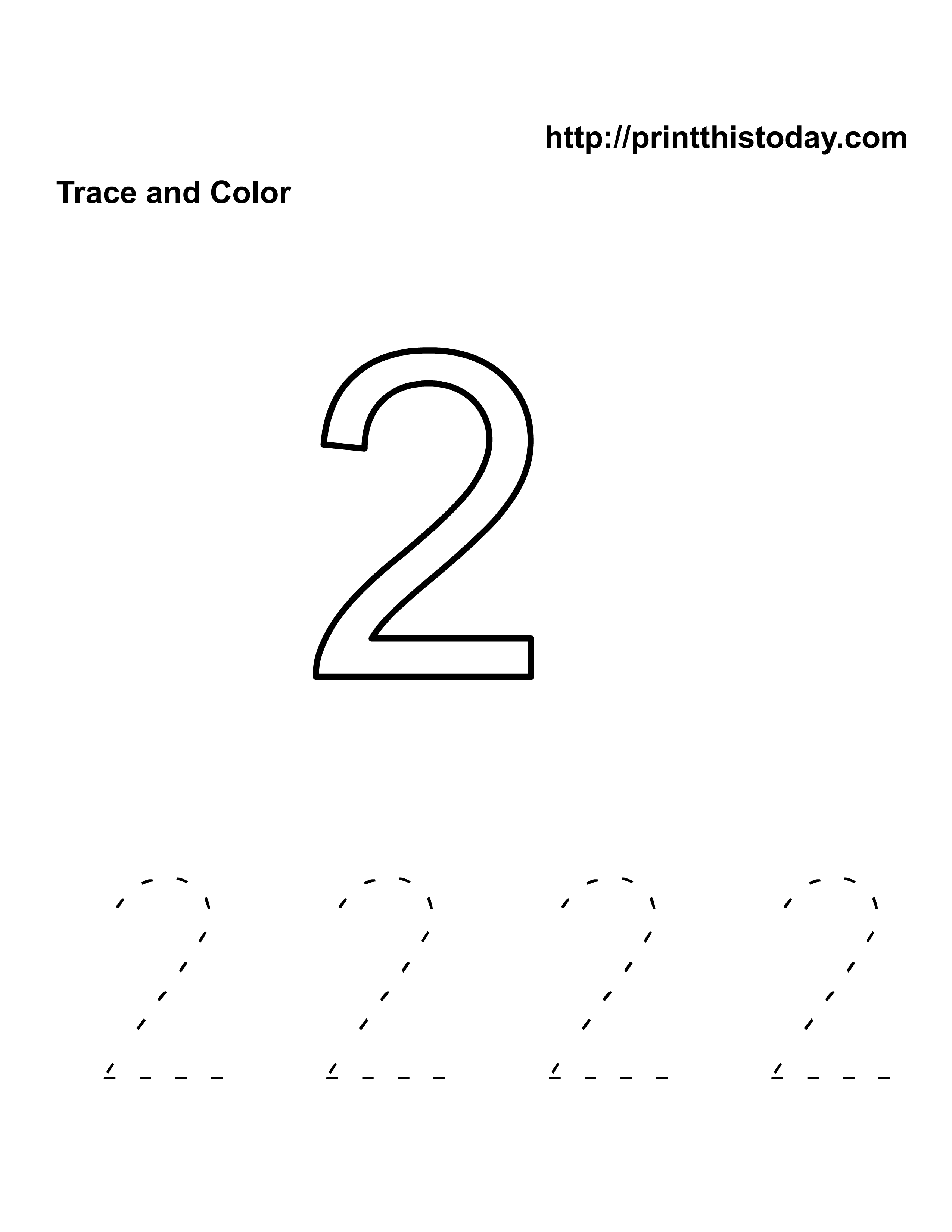 Free Kindergarten Math Worksheets Number Two 2