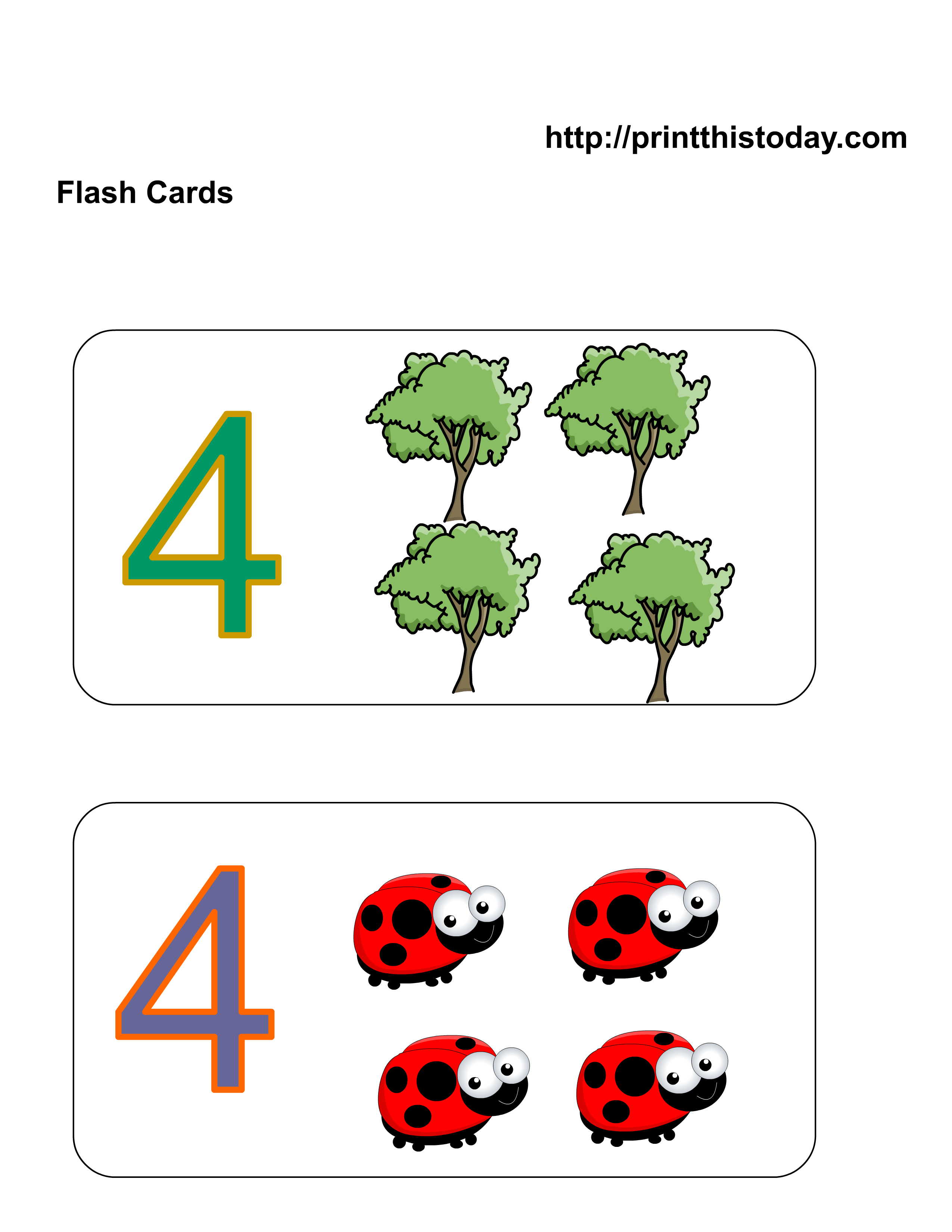 Free Printable Kindergarten Math Flashcards