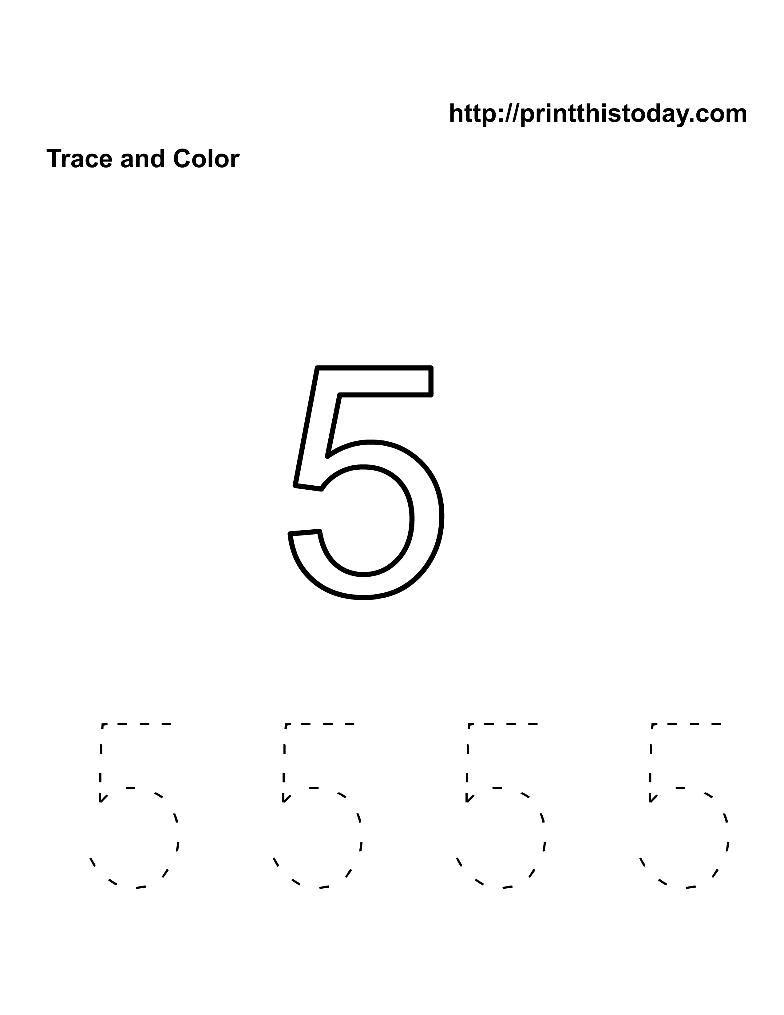 Free Kindergarten Math Worksheets Number Five 5