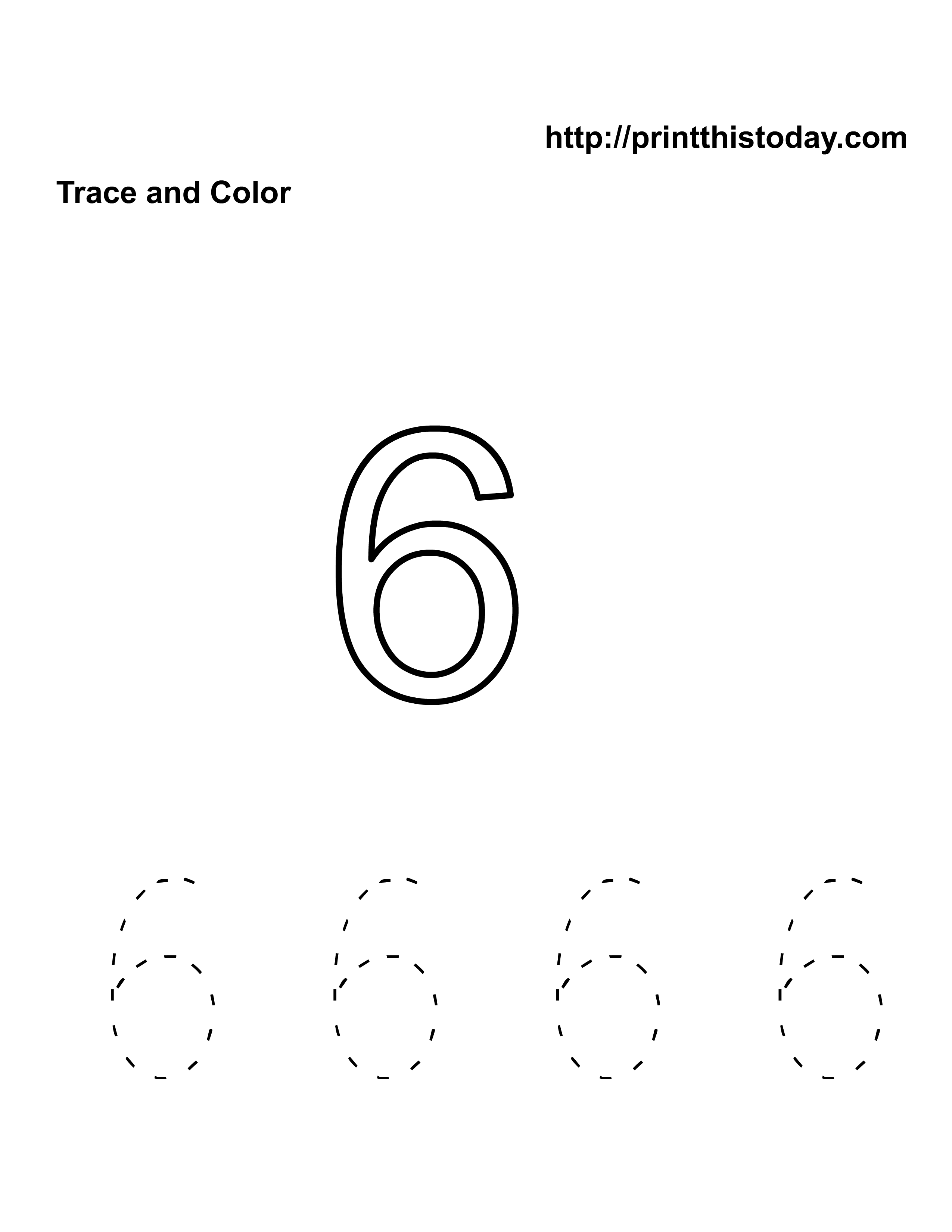 Free Kindergarten Math Worksheets Number Six 6