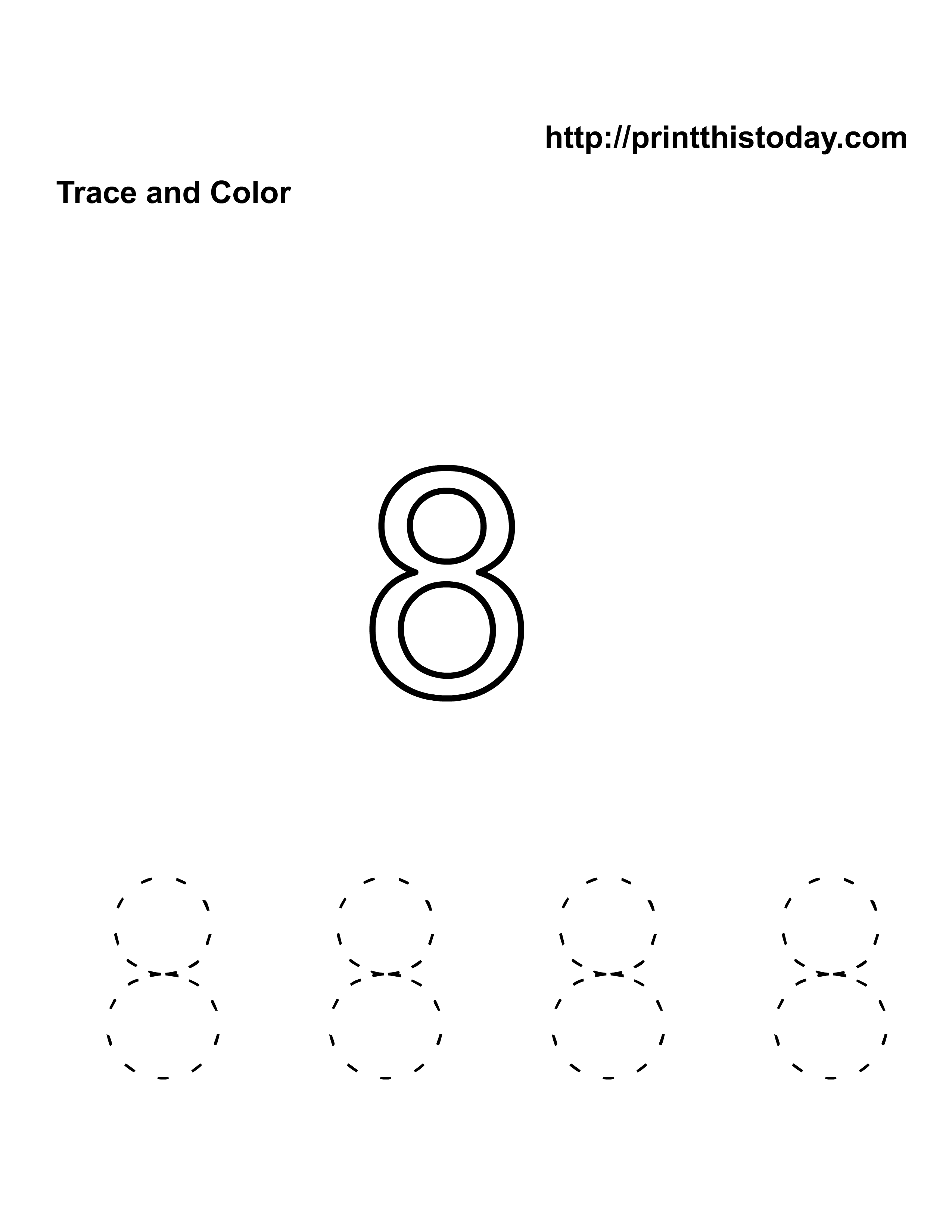 Free Kindergarten Math Worksheets Number Eight 8