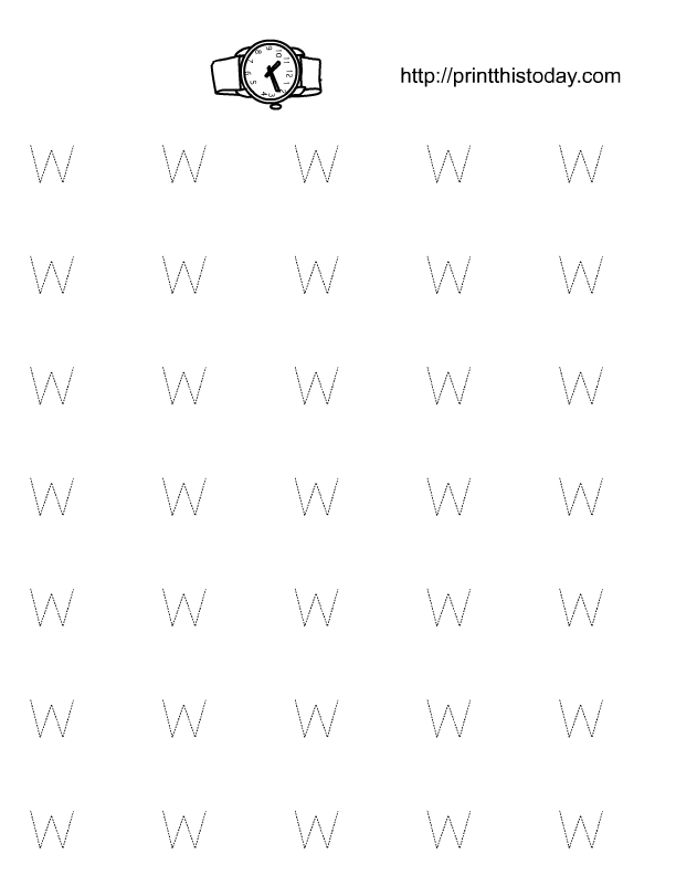 Free Printable Alphabet W Tracing worksheets
