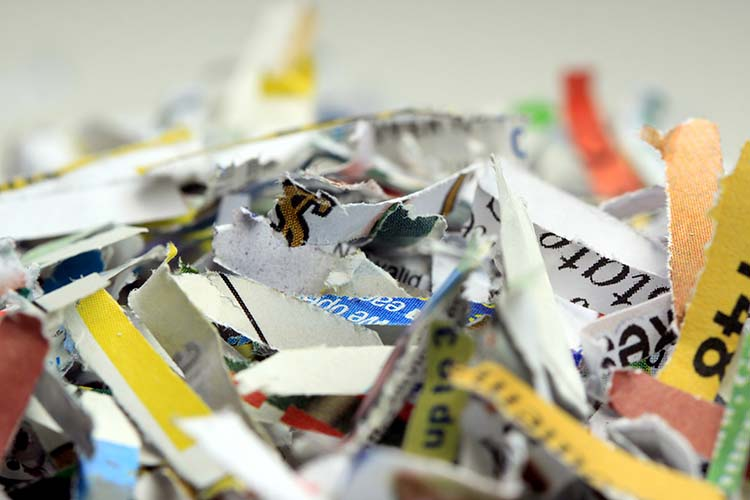 Shredded Document Business Security Background Recycling Concept