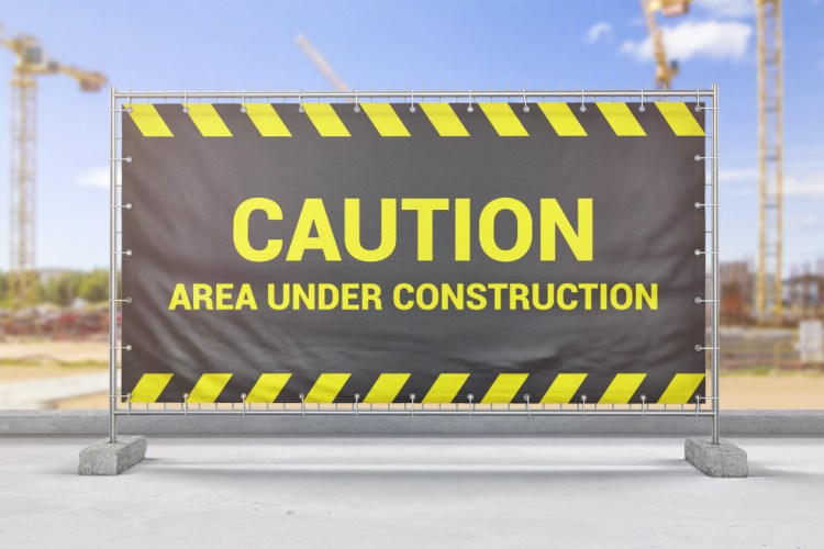 Construction Site Large Format PVC Banner with Hemmed Eyelets