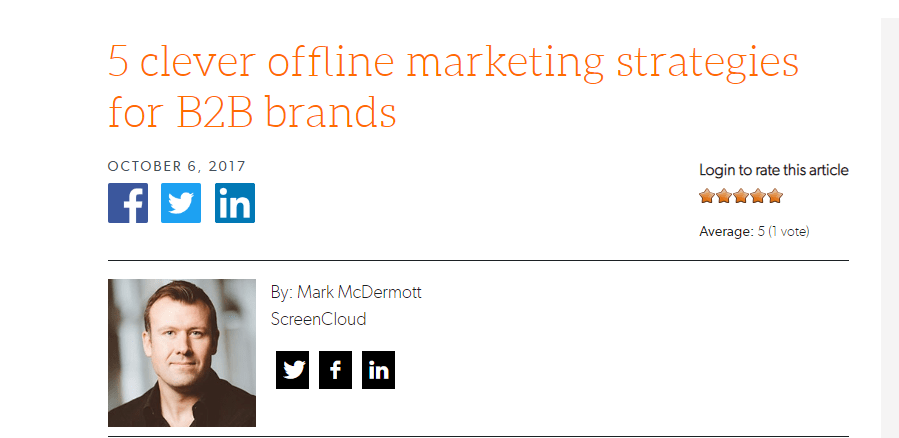 Offline Marketing Strategies for B2B Brands
