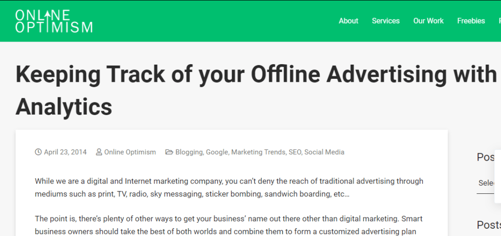 Offline Advertising with Analytics
