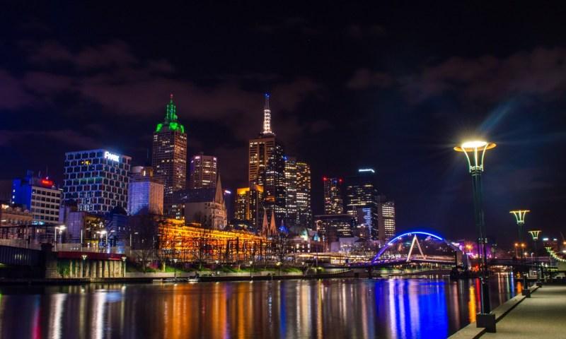 melbourne, night, yarra, river, skyline, victoria, australia