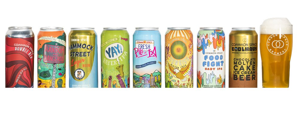 Common space beer shipment full of brightly designed cans
