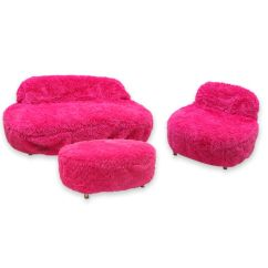 Fuzzy Sofa How To Make Paper Step By Pink Couch Cover Rentals Pri Productions Inc Covers
