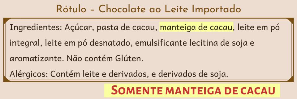 imagem detalhando ingredientes chocolate ao leite importado