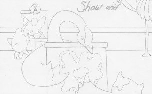 Illustration Plan for OWL AND OSTRICH Show and Tell Spread