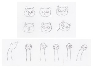 Owl and Ostrich Character Sketches