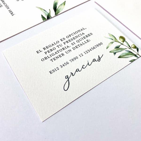 Invitaciones boda olivo pack sobre tarjeta