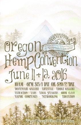 Oregon Hemp Convention poster - watercolor paint & digital rendering