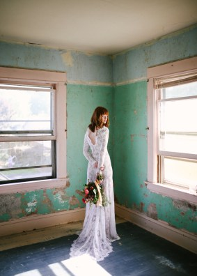 Photographer: Mandi Nelson Dress: Emily Riggs Bridal Flowers: Selva Floral Location: Prism House
