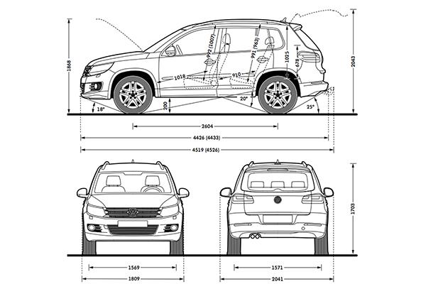 Volkswagen Tiguan dimensions