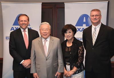 From left: Charlie Shaver, Axalta Chairman and CEO; Dr. Myung K. Hong, founder, President and Chairman of Dura Coat; Mrs. Lorrie Hong, Member of the Board of Directors of Dura Coat; and Michael A. Cash, Axalta Senior Vice President and President, Industrial Coatings. Credit: Axalta