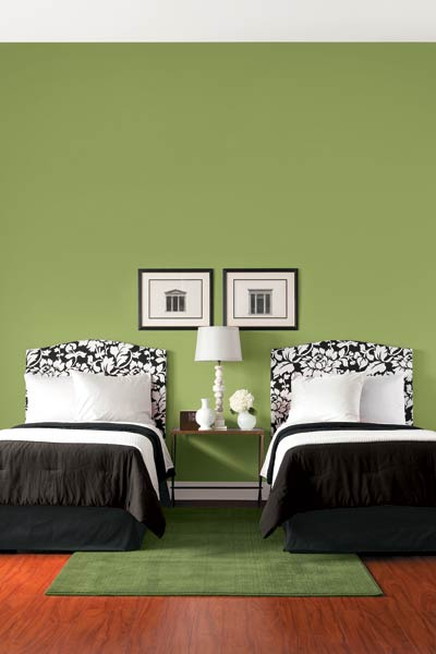 Safari Green: The power of green is that it's a balancing color, which makes it a great choice for a bedroom.