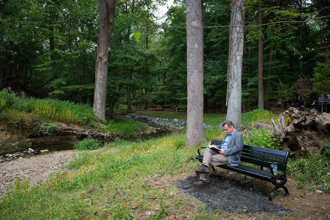 Benches throughout the site are an invitation to pause on one's journey—to rest, breathe and be present. Photo: Lisa Helfert