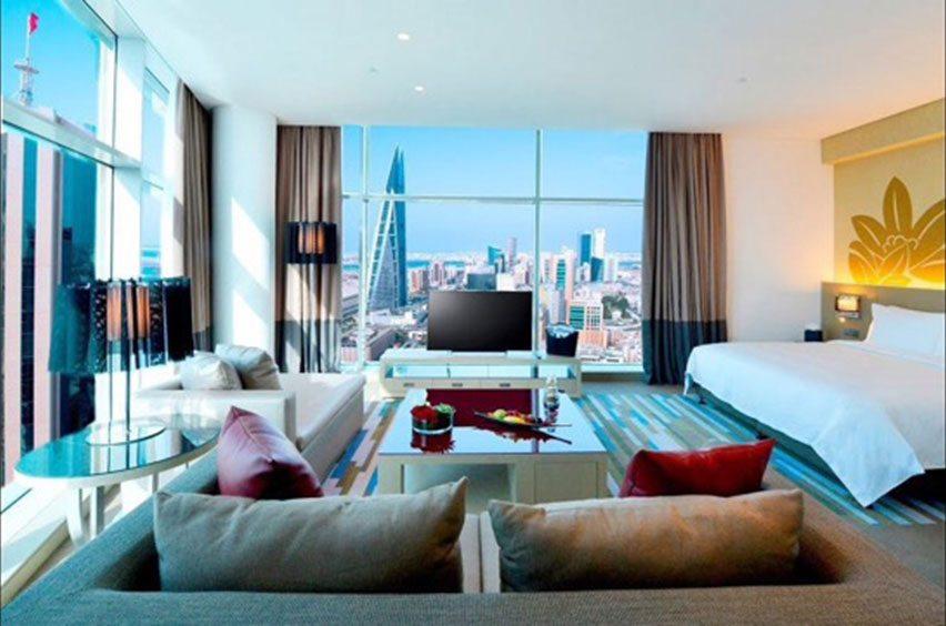 Photo of hotel room at the Rotana Banader Bahrain's. Credit: GM Architects
