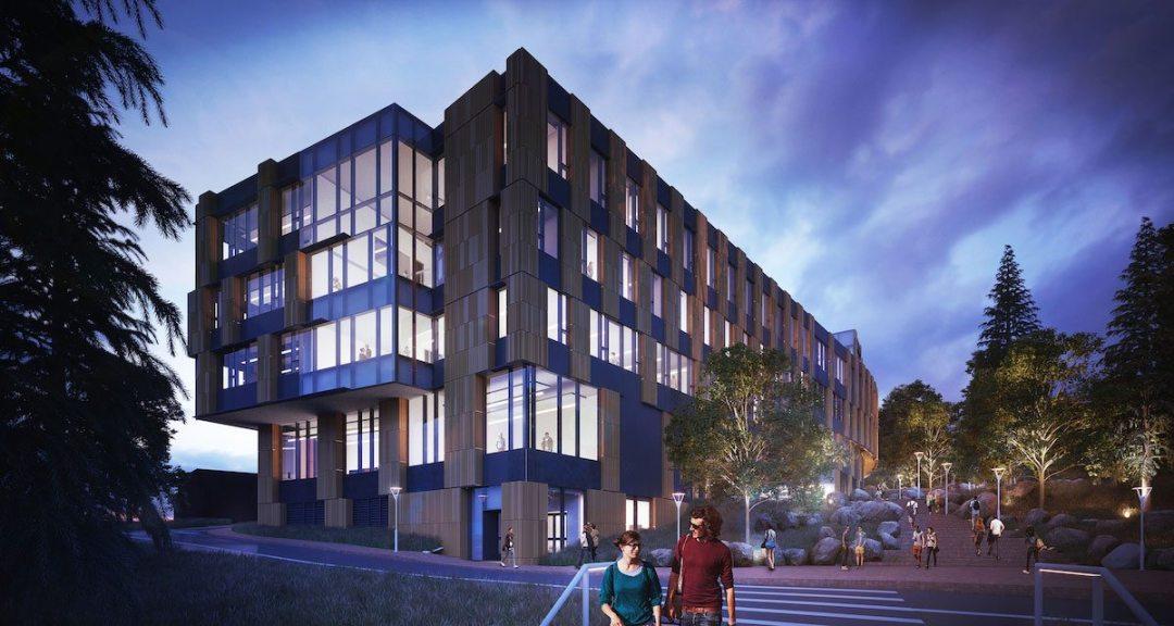 Rendering of CSE2, looking toward E. Stevens Way NE. University of Washington. Courtesy of LMN Architects