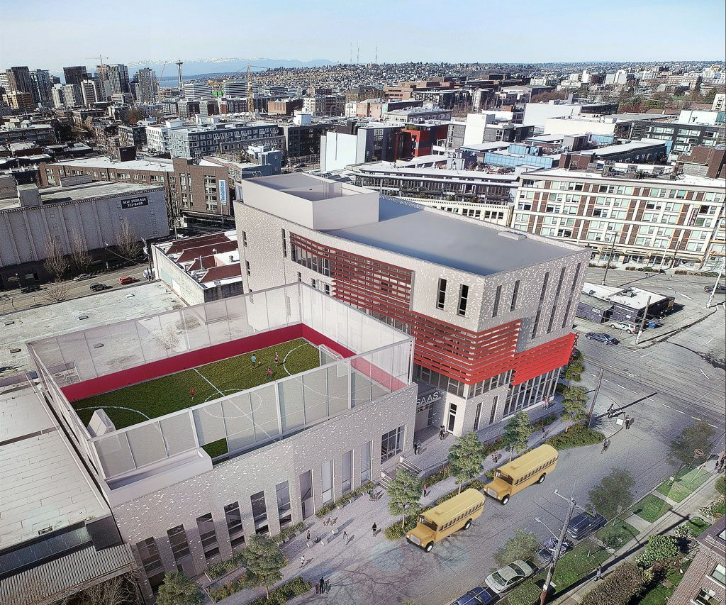 Cardinal Union will be the first mid-rise middle school classroom building in Seattle. Credit: LMN Architects