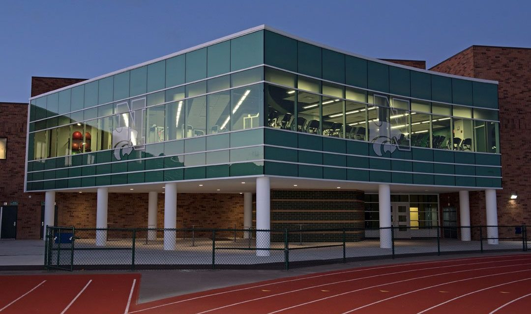 Novi High School's new fitness center features curved Tubelite curtainwall