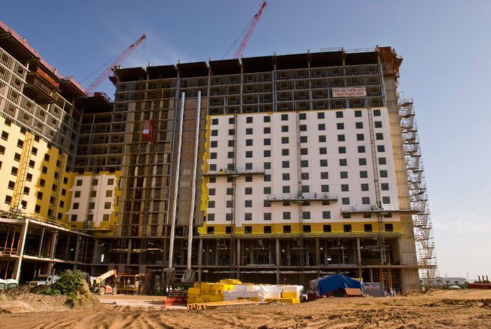 Designers of the Hilton Hotel in Orlando, Florida were looking for a high-performance exterior wall cladding that would provide excellent protection again moisture intrusion, along with a thermally efficient building envelope that would enhance the building's interior climate control and comfort. Photo courtesy of Sto Corp.