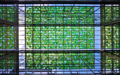Goldray's technographic interlayer film, Starphire glass by Vitro Architectural Glass combine to create stunning glass canopy