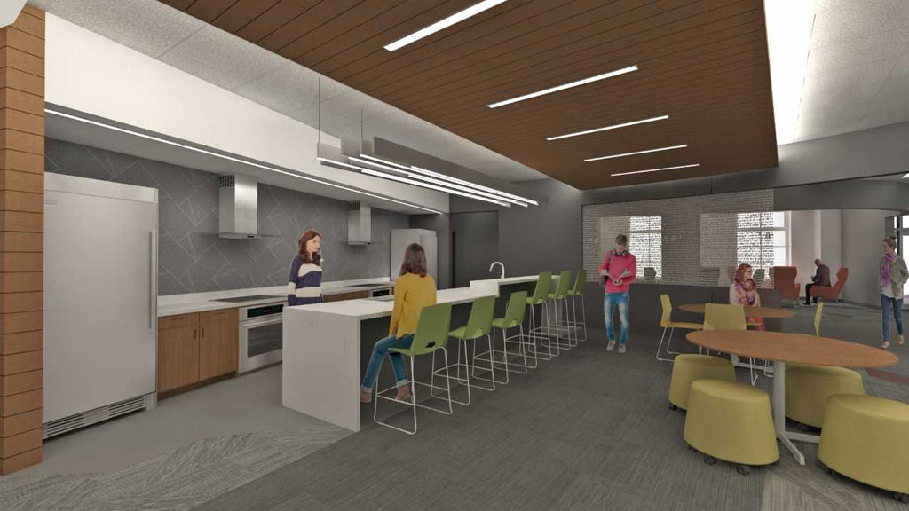 Williams Village East Residence Hall, University of Colorado Boulder. A LEED v4 project currently under construction. Sustainable EPD products specified for the interior: carpet with 88% recycled backing, recycled plastic solid surface countertops, 71% recycled content lay in ceiling, 35% recycled content wall tile, and 40% recycled content resinous panels. Courtesy of KWK Architects
