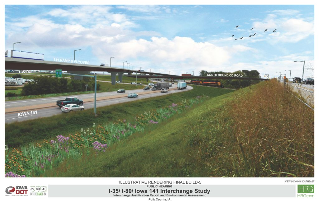 Ground-level rendering of the view looking south along IA 141/NW Urbandale Drive.