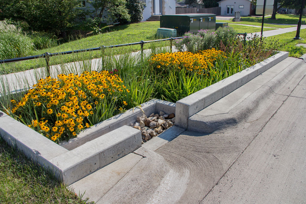 Coralville - 5th St Reconstruction - Stormwater planters.