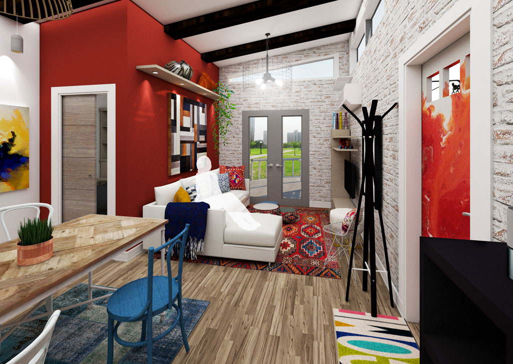 Sherwin-Williams Student Design Challenge first place winner in the residential category: Nia Gibbs of Ringling College of Art and Design for Affordable Housing Unit.
