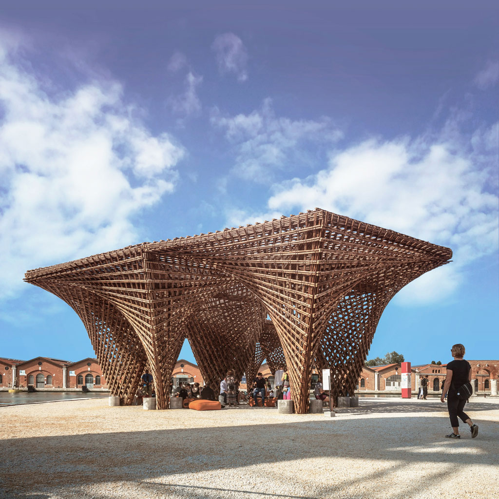 Bamboo stalactite by Vo Trong Nghia Architects located in Venice, Italy. Photo credit: © Sabin Prodan