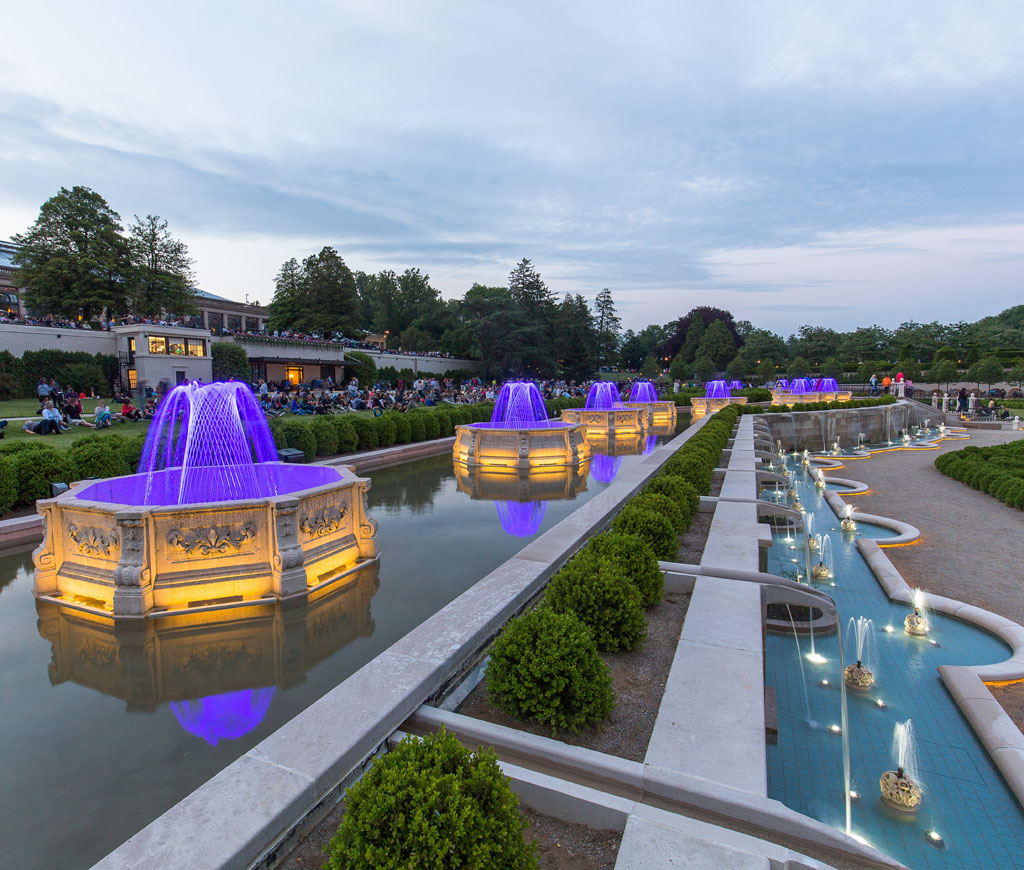 """""""Completely Restored Fountains"""" — ASLA 2018 Honor Award, General Design Category. Longwood Gardens Main Fountain Garden by West 8 Urban Design & Landscape Architecture (Rotterdam, Netherlands) for Longwood Gardens Inc. Credit: © Noah Devereaux courtesy West 8"""