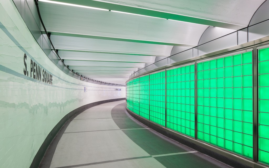 """SEPTA Downtown Link features glass block """"active"""" wall system by EXTECH"""