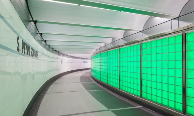 "SEPTA Downtown Link features glass block ""active"" wall system by EXTECH"