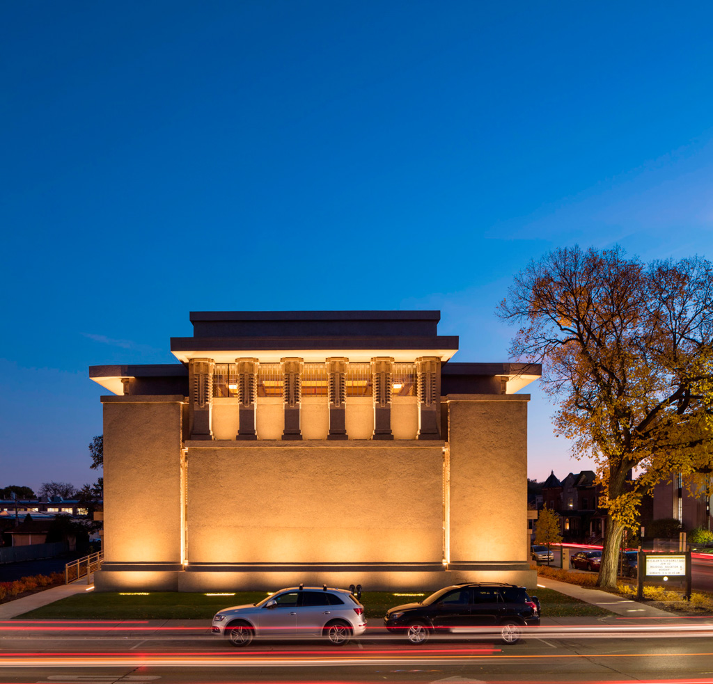 Harboe Architects, PC.'s preservation of Frank Lloyd Wright's Unity Temple in Oak Park, Illinois. Courtesy of the World Monuments Fund