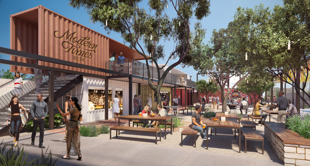 """Leisuretown, a LAB Holding partnership with Modern Times Beer, will be """"the community's backyard"""" using containers and restored buildings. Rendering by Studio One Eleven."""