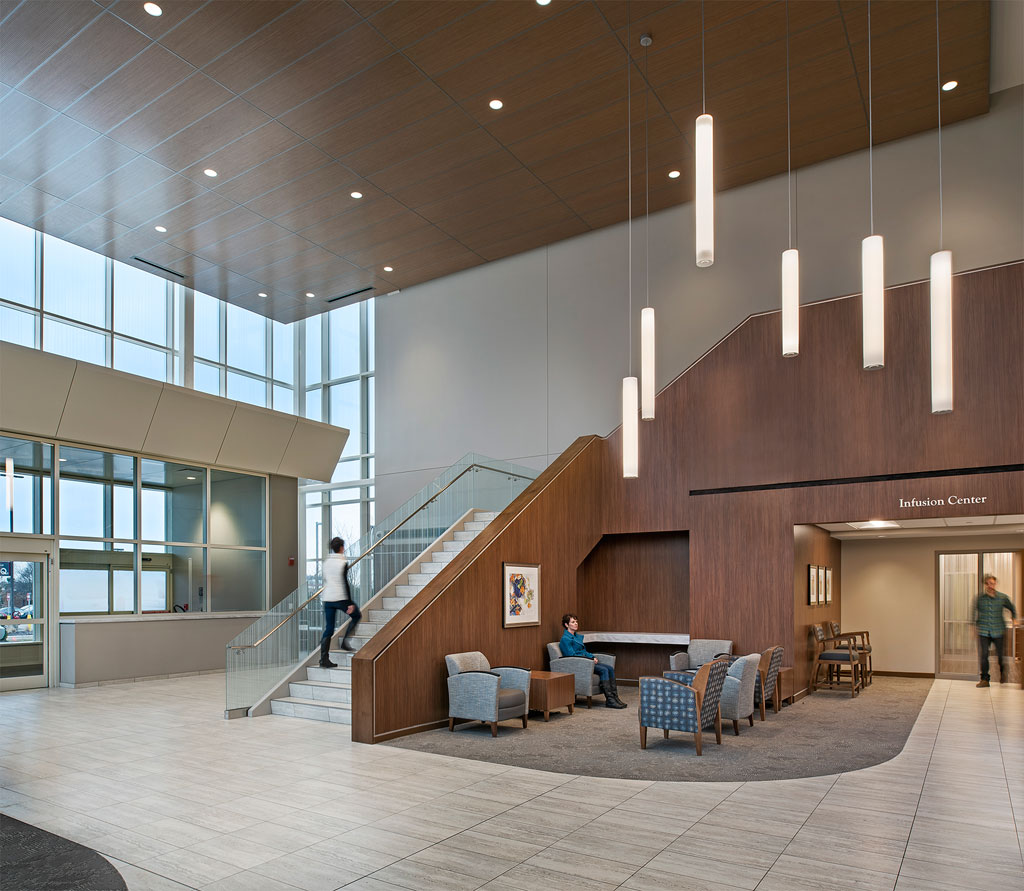 Entry Lobby of the Robert H. and Judy Dow Alexander Cancer Center at the St. Joseph Mercy Ann Arbor Hospital. Photo credit: John D'Angelo