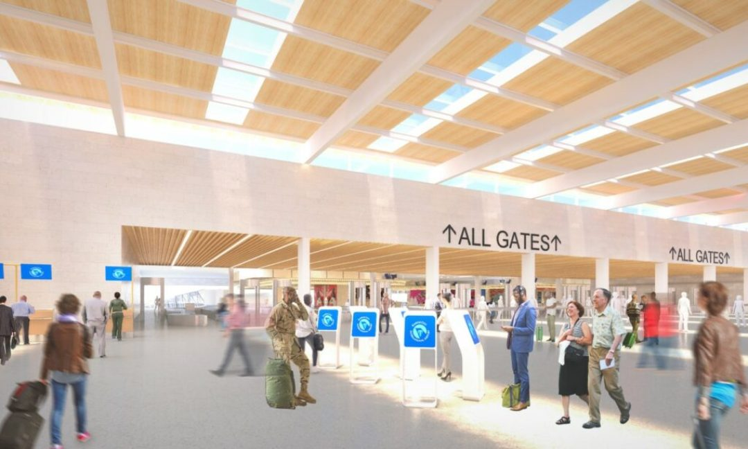 Rendering of KCI new terminal check-in hall. Rendering credit: Skidmore, Owings & Merrill