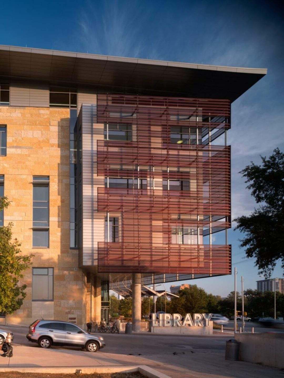 Perforated anodized aluminum is a façade design element in the recently constructed central library in Austin, Texas. Photo credit: Nic Lehoux, courtesy of Lorin Industries, Inc.