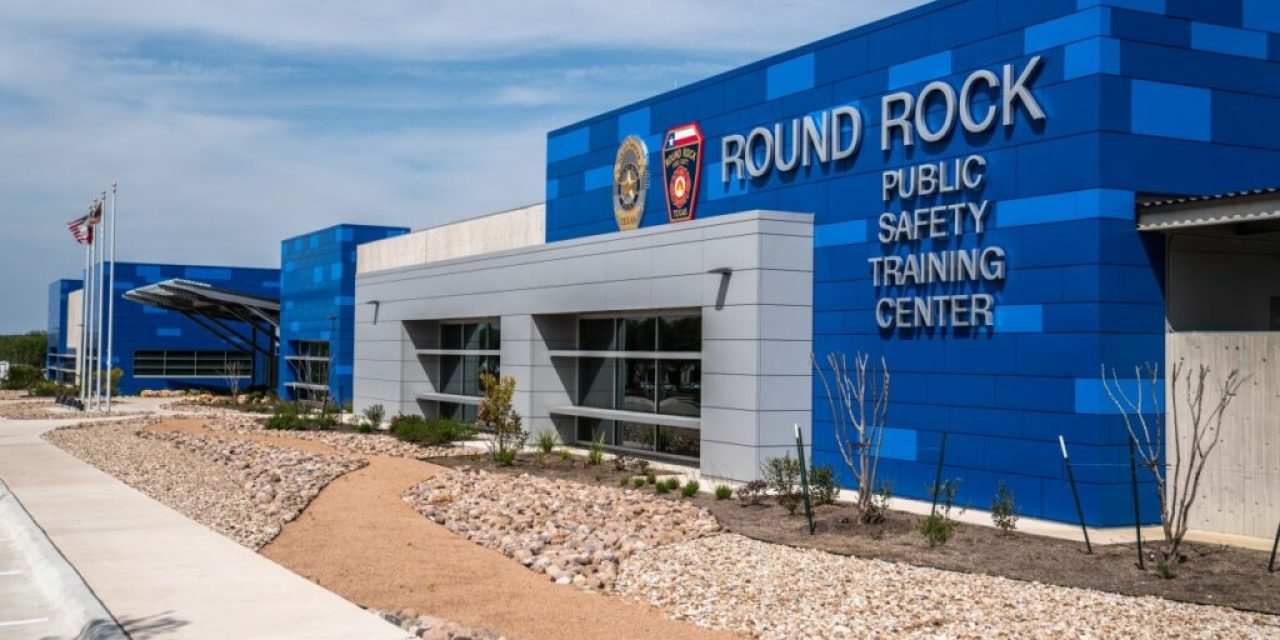 Public Safety Training Center in Texas clad in blue and gray metal wall panels finished by Linetec