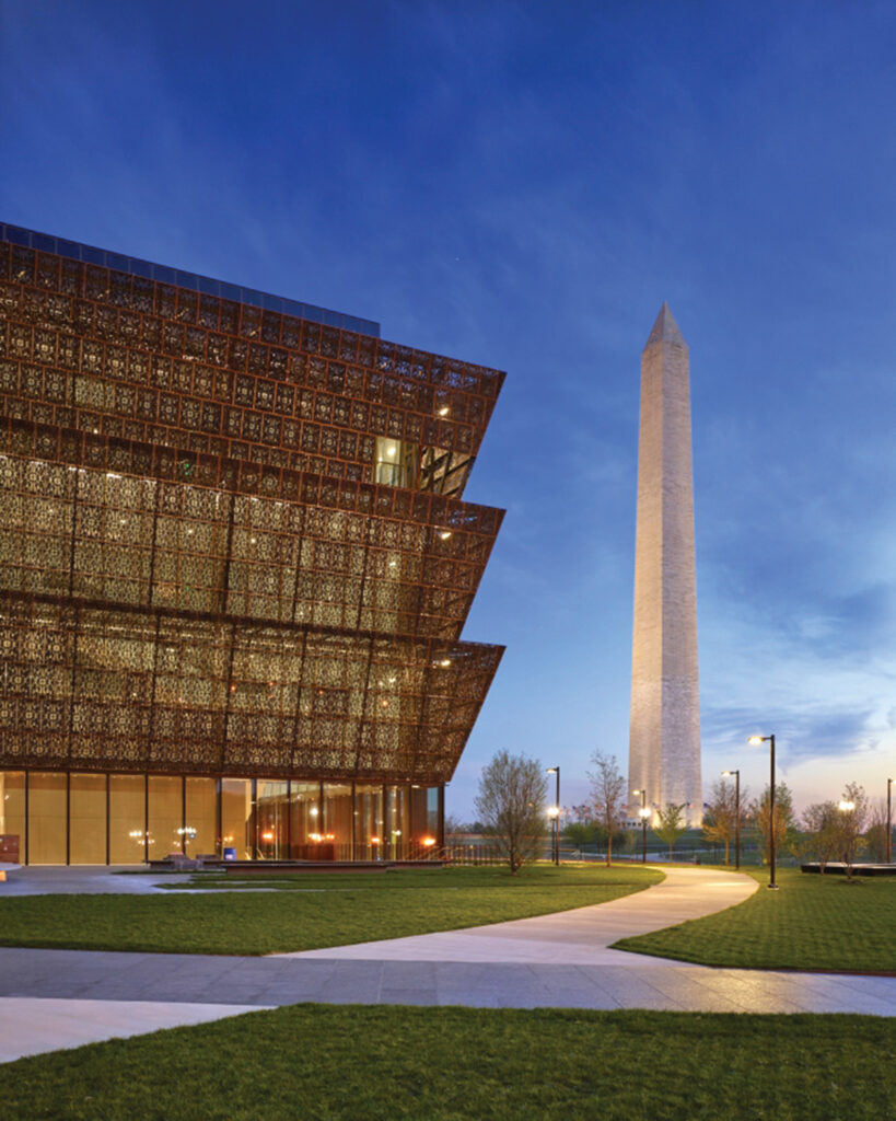 The three-tiered corona of the National Museum of African American History and Culture symbolizes faith, hope and resiliency.