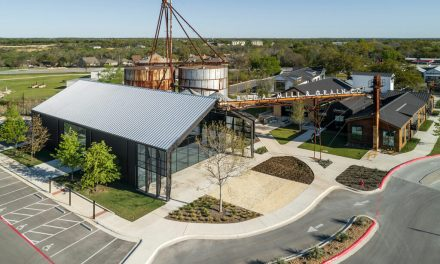 The Buda Mill & Grain Co., a historic agricultural complex reimagined as a community commercial destination in Buda, Texas