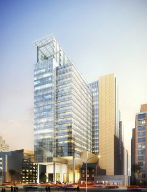 Avocet Tower, a glass-clad 370,000 gsf of Class-A office tower and a 220-key AC Hotel in Bethesda, Md. Courtesy of Pickard Chilton